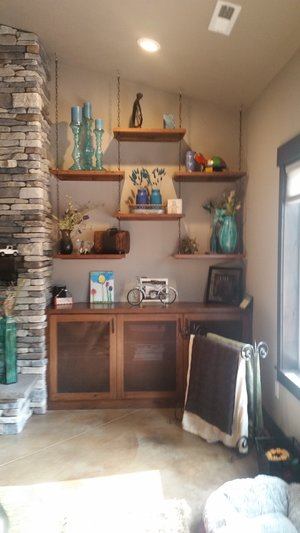 Fire place built ins with floating shelves